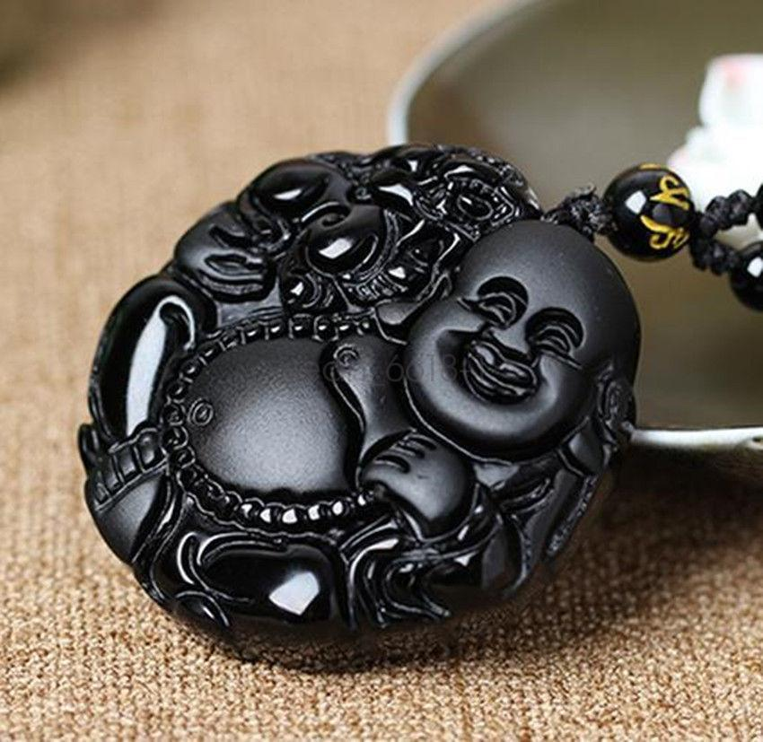 Protective Obsidian Happy Buddha Pendant Necklace in Velvet Pouch-Hand Carved