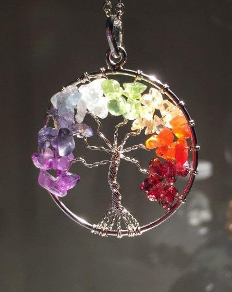 The Tree of Life Healing Natural Gemstone Pendant Necklace - 7 Chakra