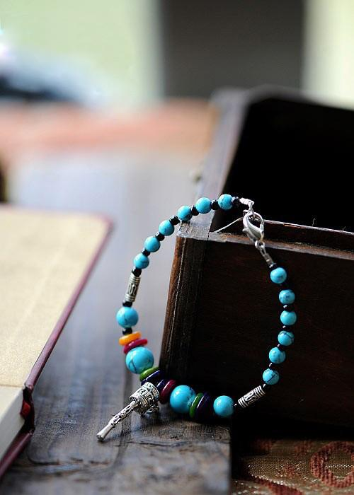 Tibetan Turquoise Silver Prayer Wheel Good Luck-Amulet Bracelet/Mantra