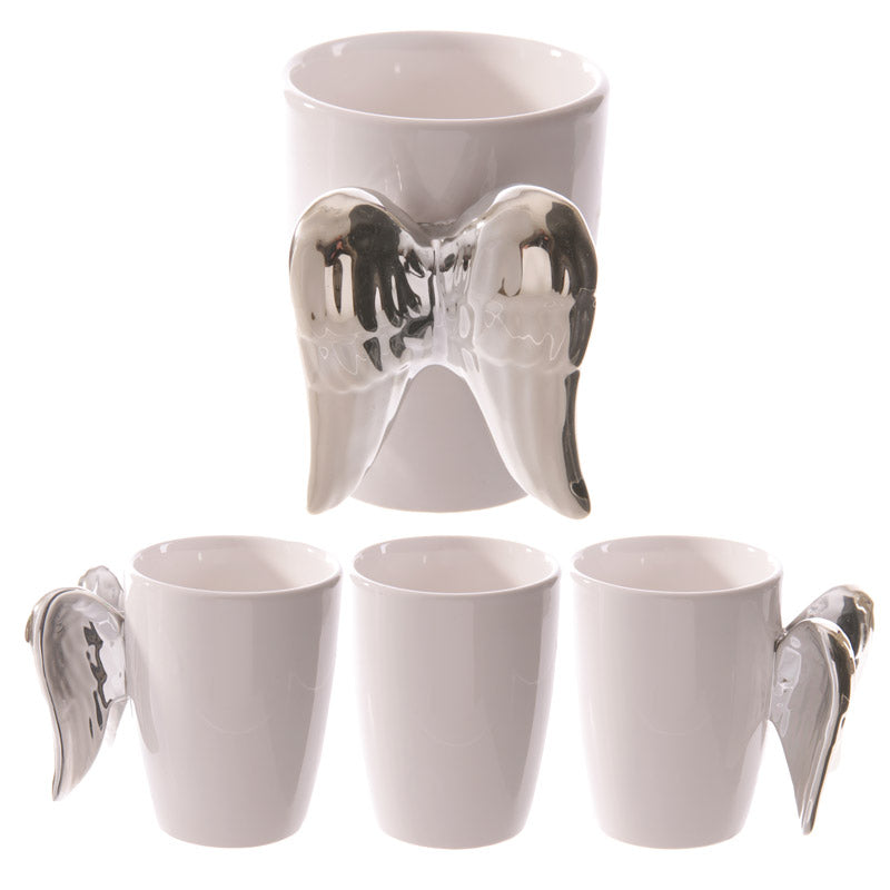 Silver Angel Wings Novelty Ceramic Mug