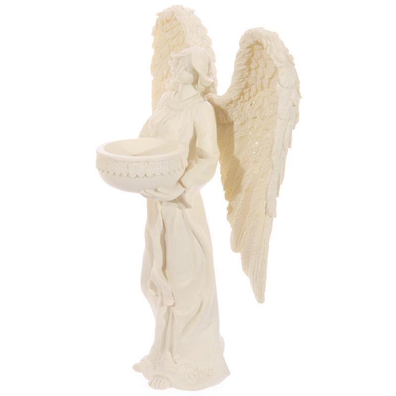 Decorative Standing Angel Cream Tealight Holder