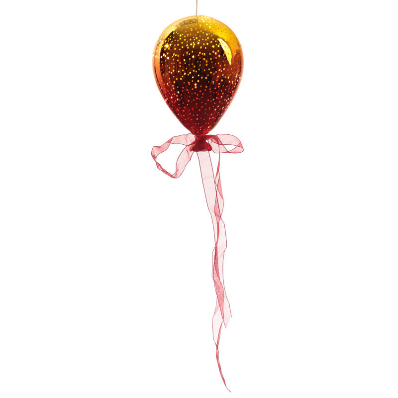 Orange & Yellow Hanging LED Balloon - Large Metallic