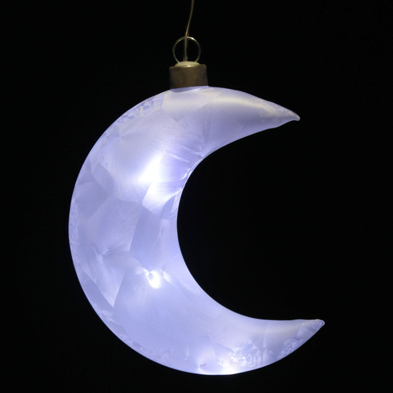 Frosted White Hanging LED Moon - Small