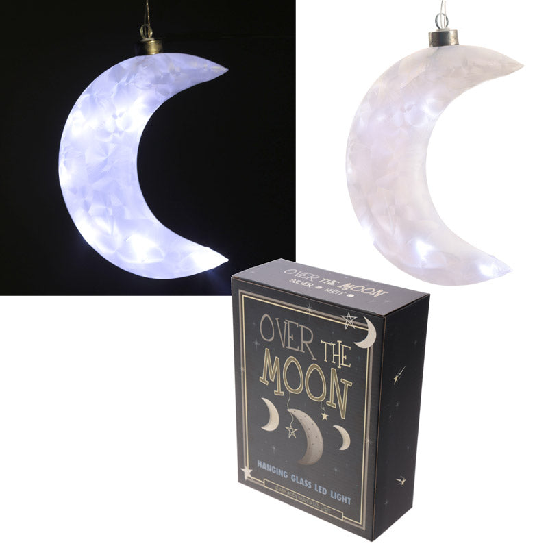 Frosted White Hanging LED Moon - Large