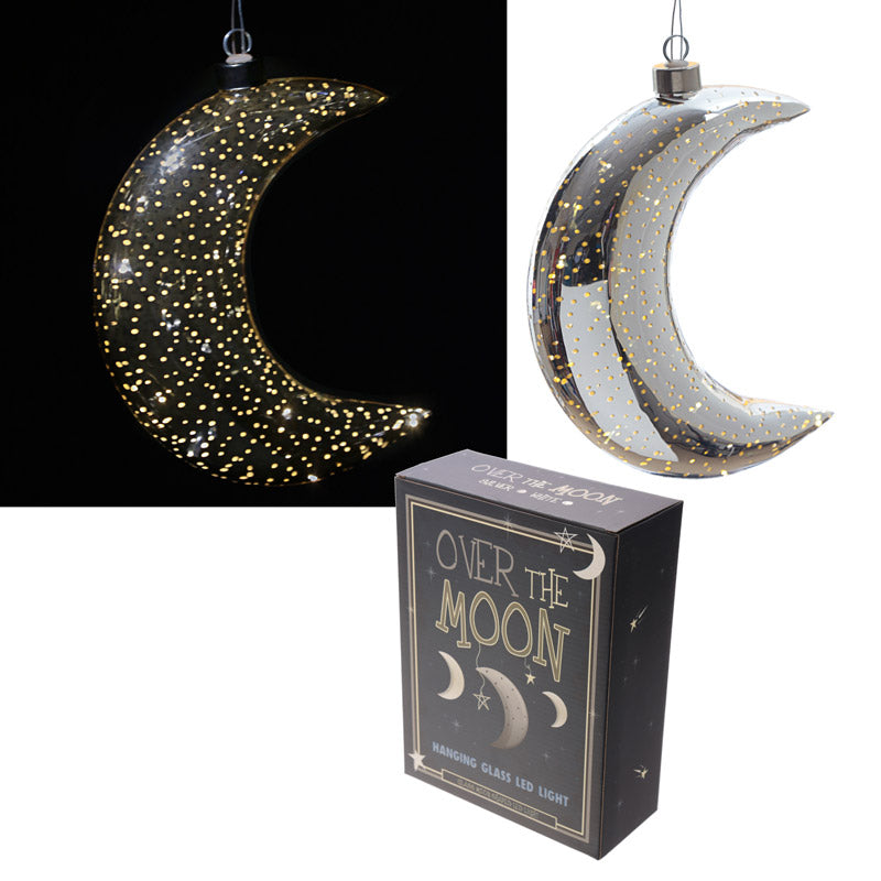 Silver Hanging LED Moon - Large Metallic