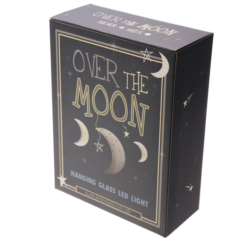 Silver Hanging LED Moon - Small Metallic