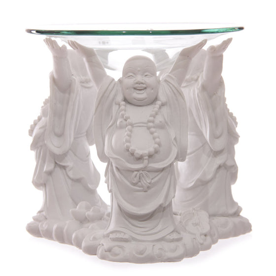 Decorative White Chinese Buddha Oil Burner with Glass Dish