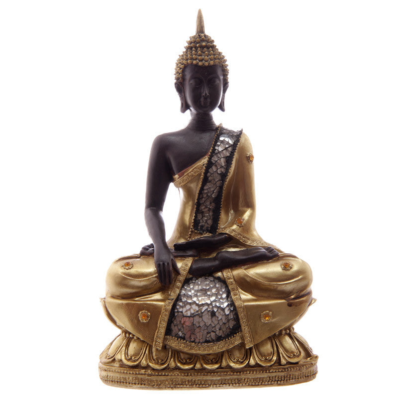 Decorative Seated Gold and Brown Mosaic Buddha Figure