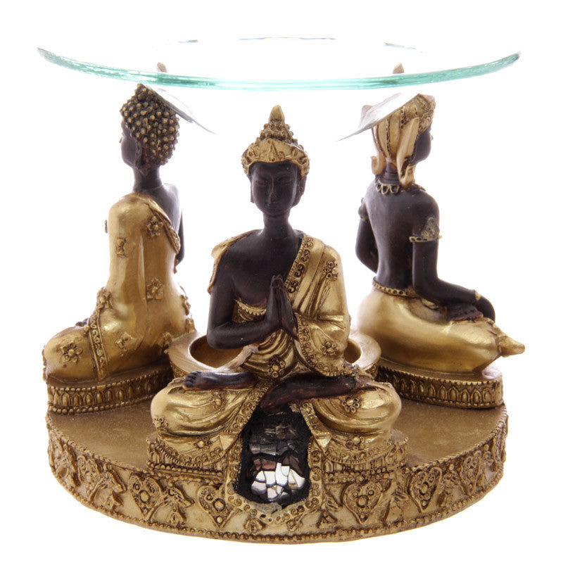 Decorative Gold and Brown Thai Buddha Oil Burner with Dish