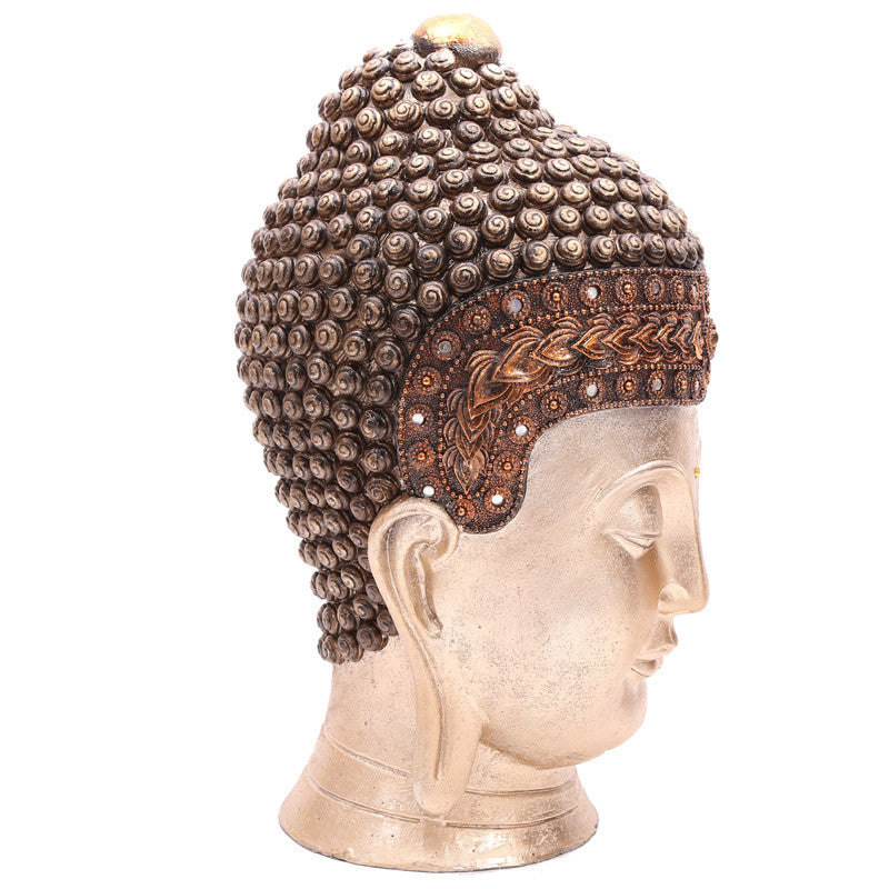 Decorative Thai Buddha Head - Gold Metallic Effect