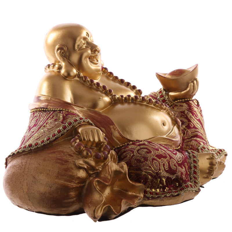 Decorative Chinese Happy Buddha Figurine - Hand on Sack