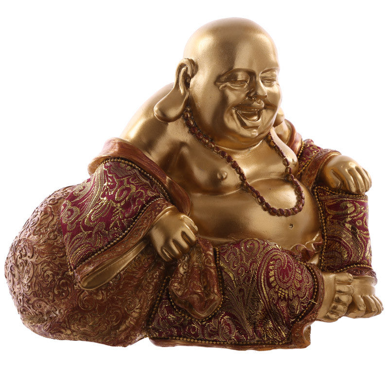Decorative Chinese Happy Buddha Figurine - Hand on Knee