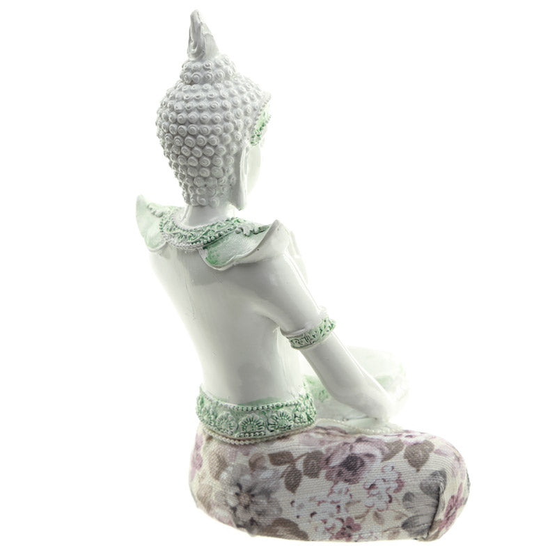 Decorative Floral Thai Buddha Meditation Teal Light Holder