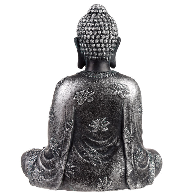 Black Silver Decorative Sitting Buddha Statue