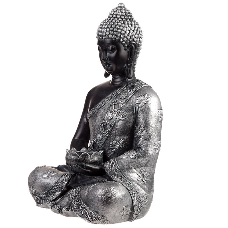 Black Silver Decorative Tea Light Holder Buddha Statue