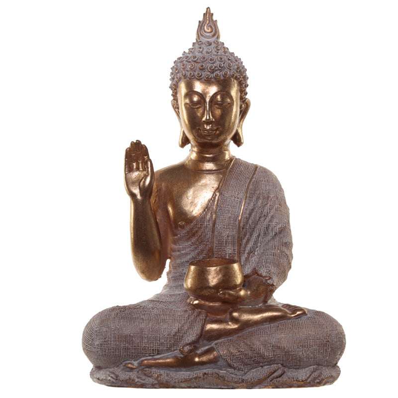 Gold Effect Thai Buddha Statue With Begging Bowl