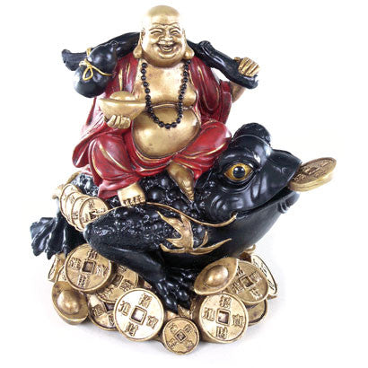 Decorative Chinese Happy Buddha on Coins and Wealth Toad