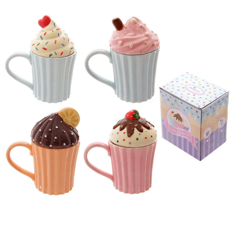 Fun Ceramic Cute Cupcake Mug with Lid