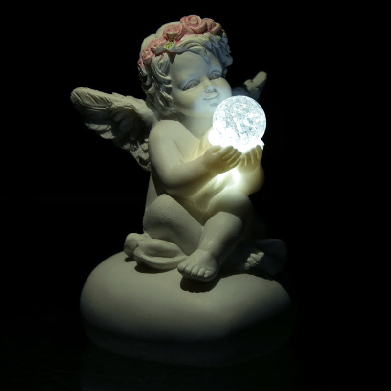 Rose Cherub with LED Crystal Ball