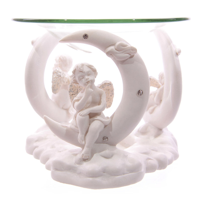 Cute Cherub in Moon White Oil Burner with Glass Dish