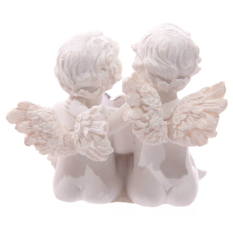 Cute Cherub Couple Holding Silver Gem Heart (Set of 3)