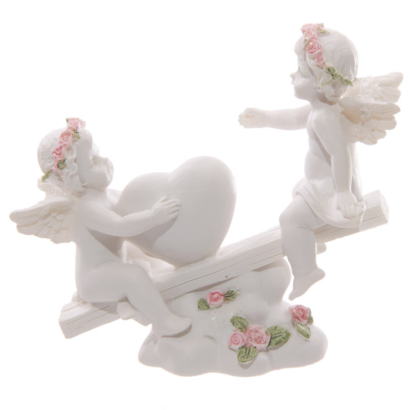 Decorative Rose Cherub Seesaw Heart Figurine