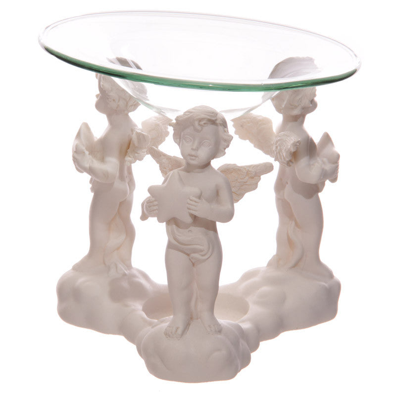 Decorative Cherub Oil Burner Holding Stars with Glass Dish