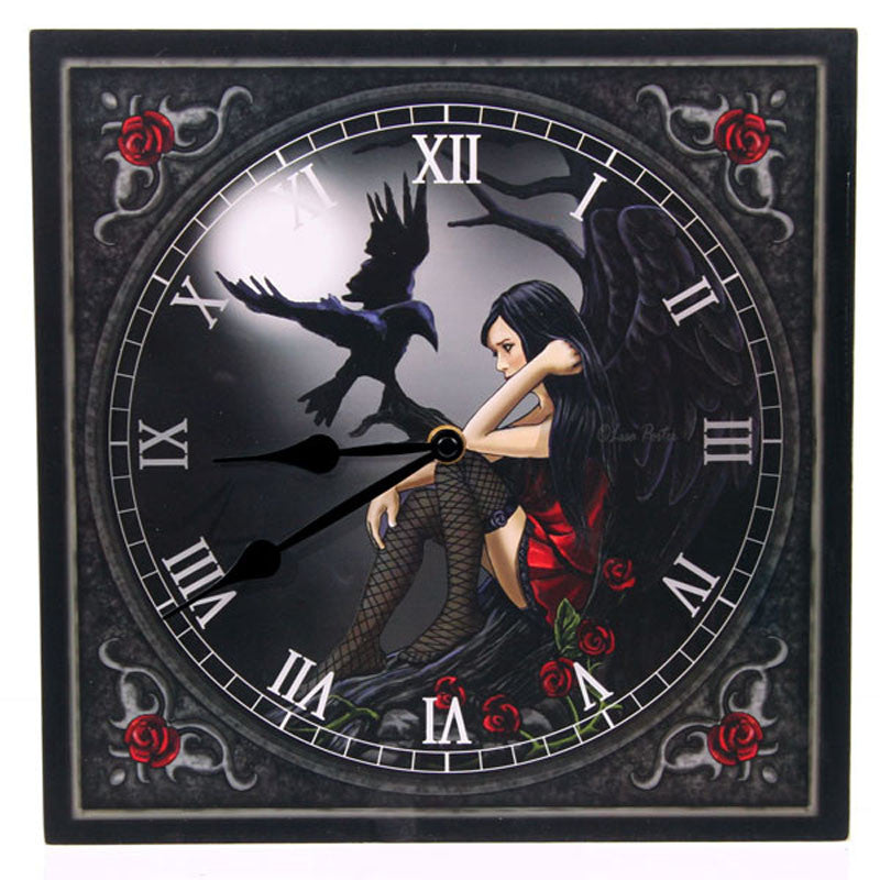 Fantasy Design Dark Angel with Raven Wall Clock