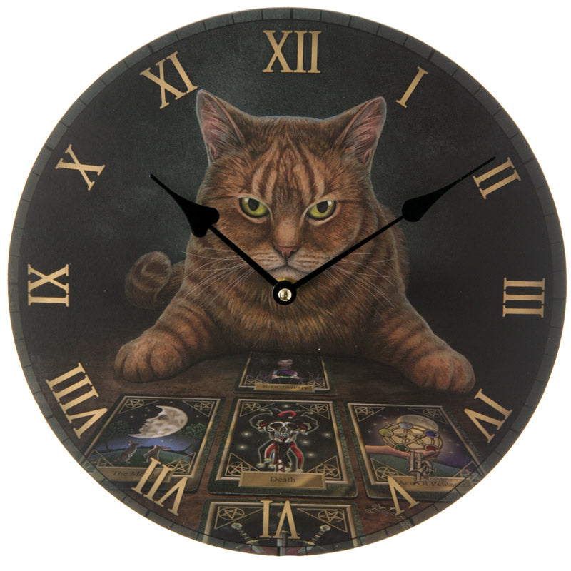Decorative Fantasy Cat and Tarot Cards Wall Clock