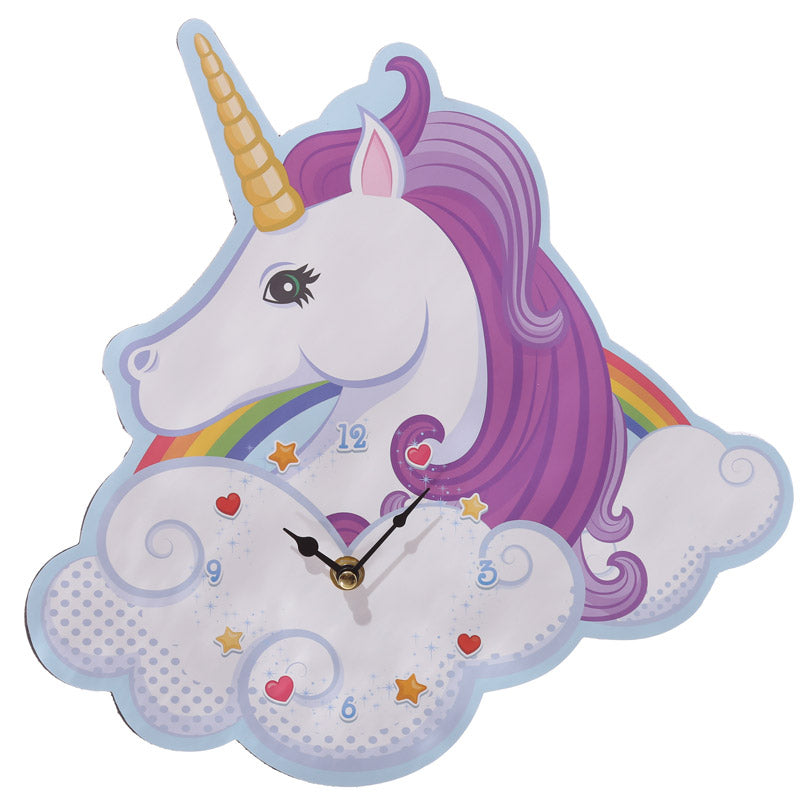 Fun Unicorn and Rainbow Design Decorative Wall Clock