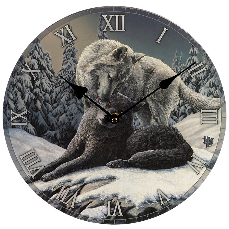 Decorative Fantasy Snow Kisses Wolf Wall Clock