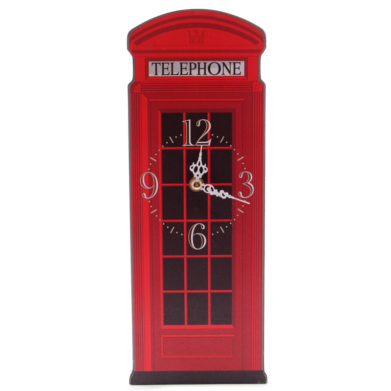 Fun Red Telephone Box Shaped Decorative Wall Clock