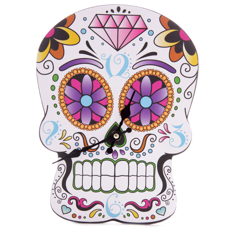 Fun Day of the Dead Skull Shaped Wall Clock