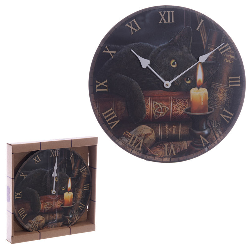 Magical Witching Hour Cat Lisa Parker Design Wall Clock