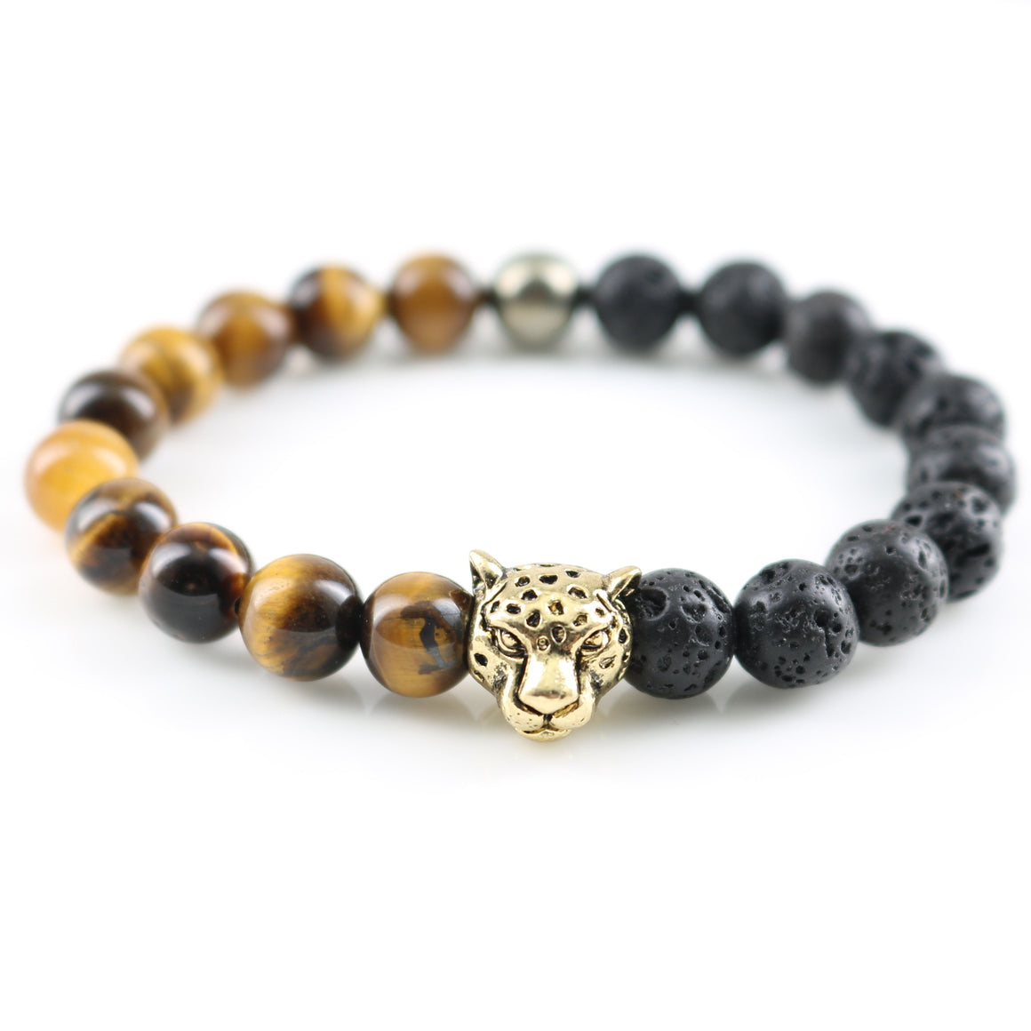 Volcanic Lava with Tiger Eye Stone Vintage Gold Leopard Head Bracelets in Velvet Pouch