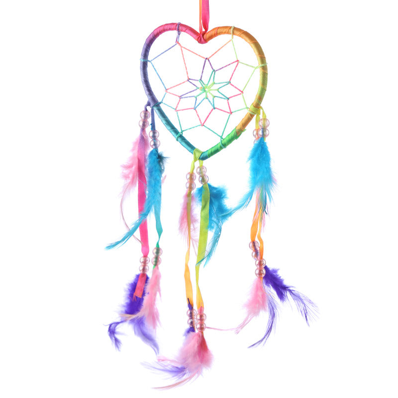 Decorative Heart Shaped Rainbow Dreamcatcher