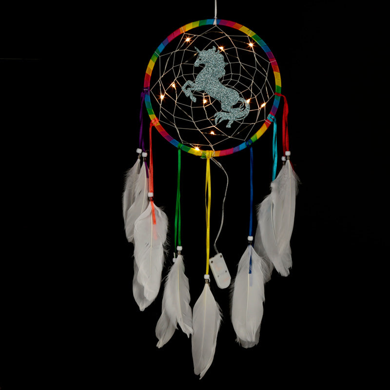 LED Rainbow Unicorn Dreamcatcher