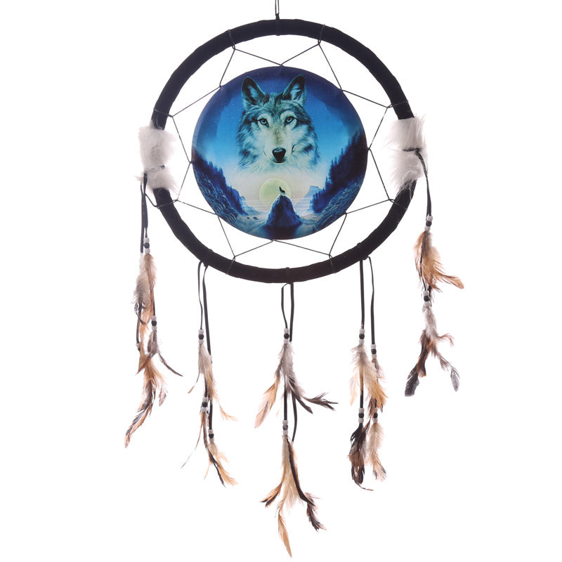 Decorative Cosmic Wolf Spirit in the Sky 34cm Dreamcatcher