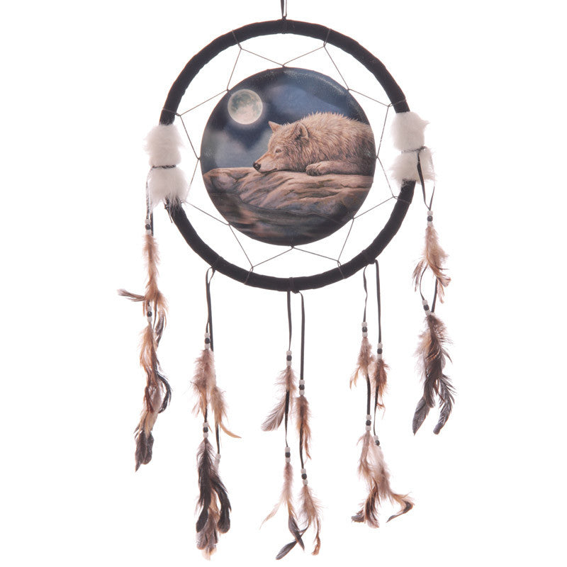 Decorative Quiet Night of the Wolf 34cm Dreamcatcher