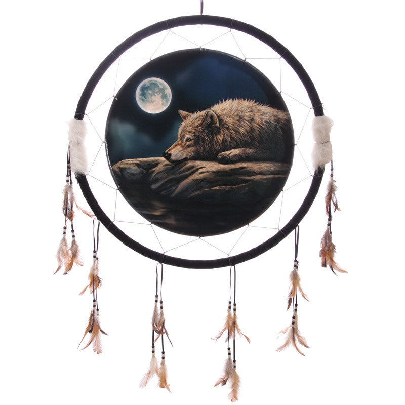 Decorative Quiet Night of the Wolf 60cm Dreamcatcher