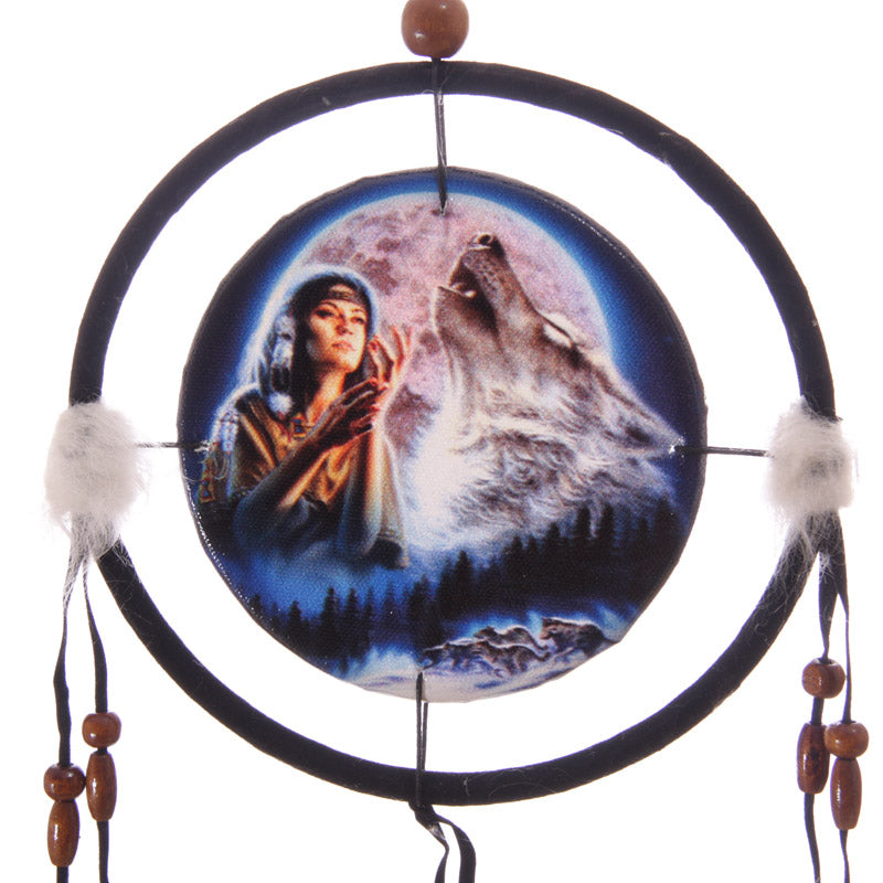 Decorative Midnight Wolf Moon Dreamcatcher