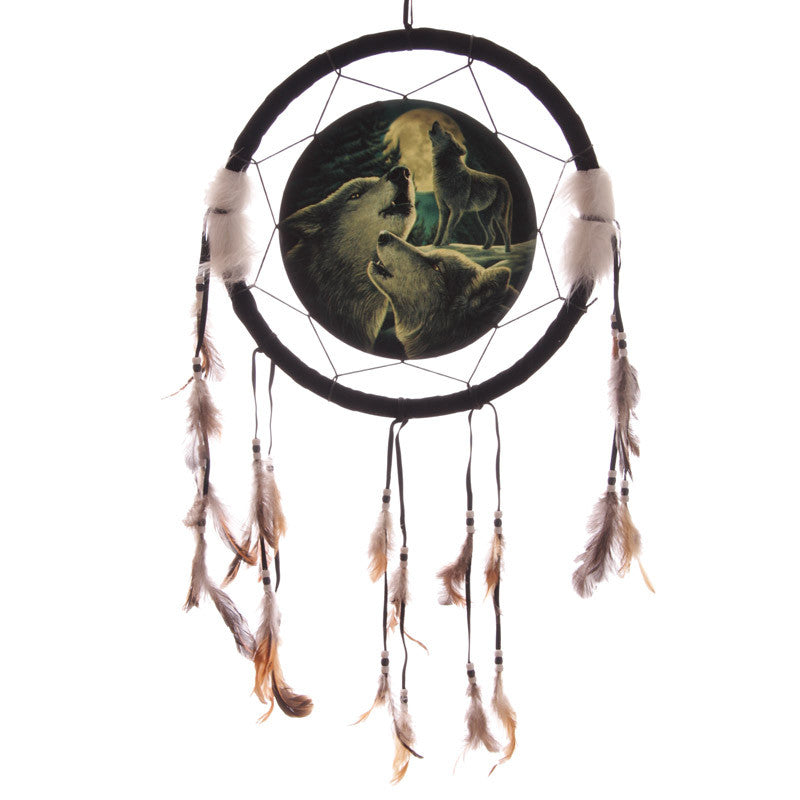Decorative Fantasy Wolf Family Dreamcatcher Medium