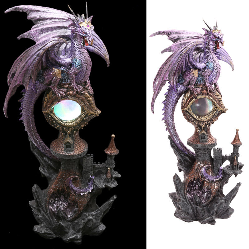 Decorative Fantasy LED Dragon Eye Castle Figurine