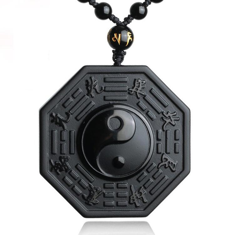 Protective Obsidian Tai Chi Pendant/Yin And Yang And The Five Elements Necklace/Velvet Pouch-Hand Carved
