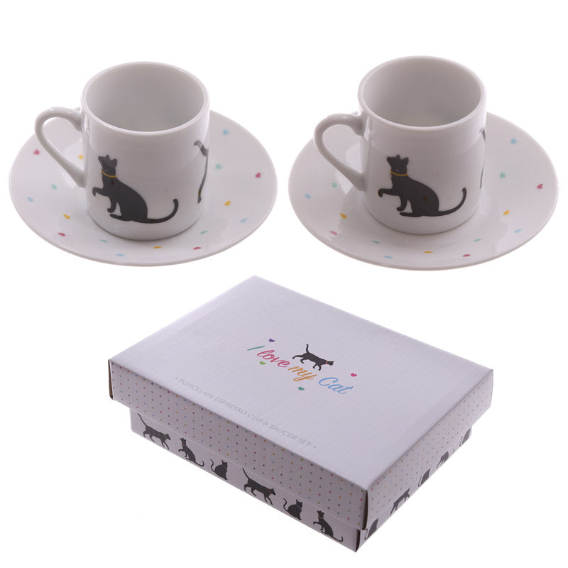 Set of 2 Espresso Cup and Saucer - I Love My Cat