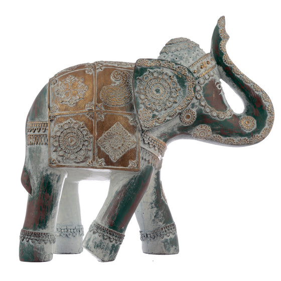 Decorative Turquoise and Gold Feng Shui Elephant Figurine