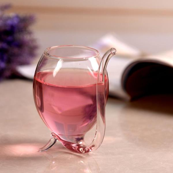 Wine Glass with Drinking Tube Straw