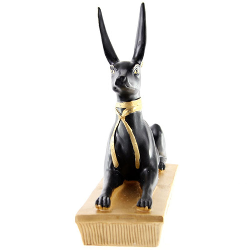 Decorative Gold and Black Egyptian Anubis Jackal Figurine