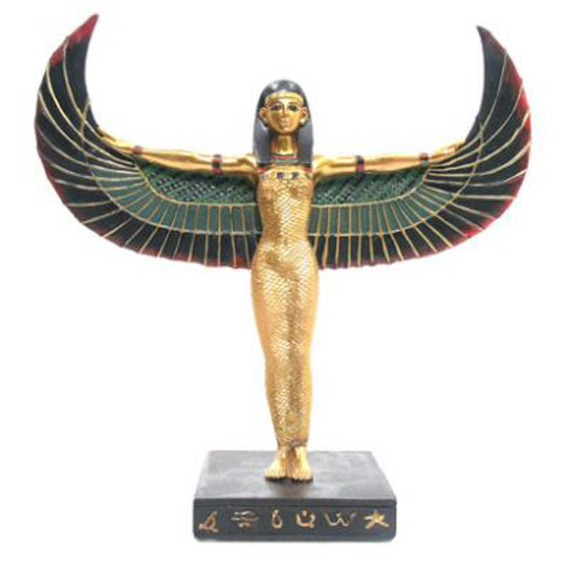 Decorative Gold Egyptian Winged Standing Isis Figurine
