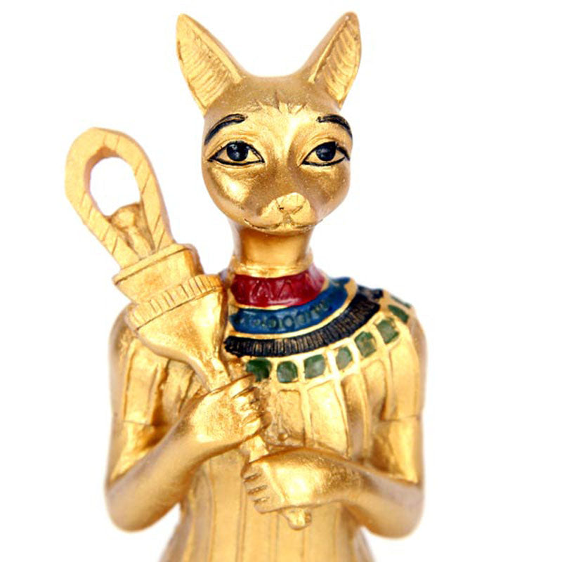 Decorative Gold Standing Bast Egyptian Figurine